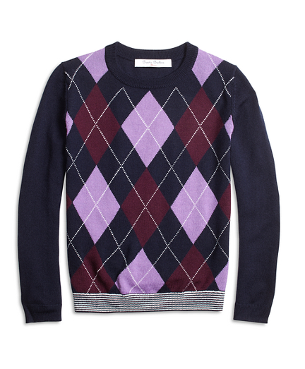 Girls Merino Wool Blend Argyle Sweater