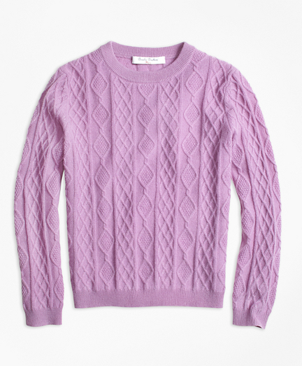 Girls Cashmere Diamond Cable Crewneck Sweater