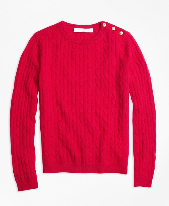 Girls Cashmere Cable Crewneck Sweater Red