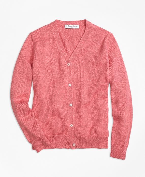 Girls Supima® Cotton V-Neck Cardigan Pink