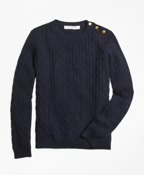 Girls Cashmere Cable Crewneck Sweater Navy