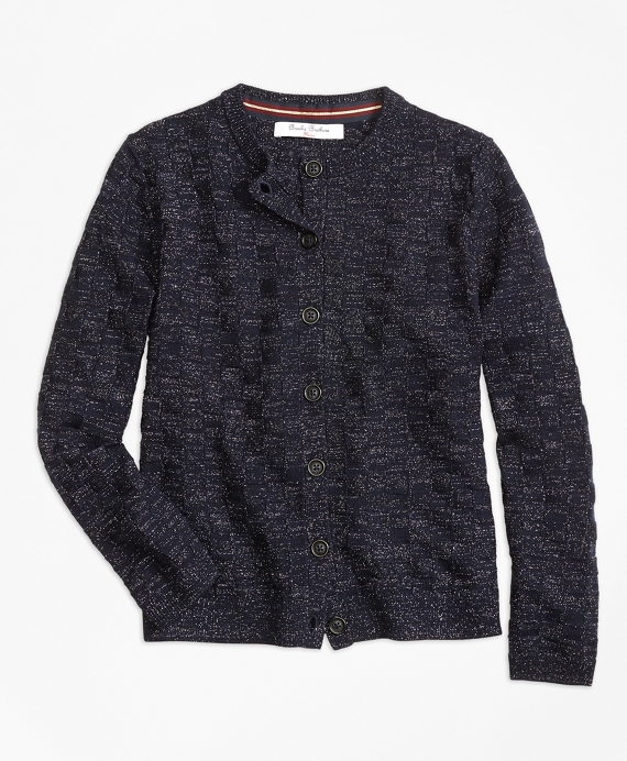 Girls Merino Wool Basketweave Cardigan Navy