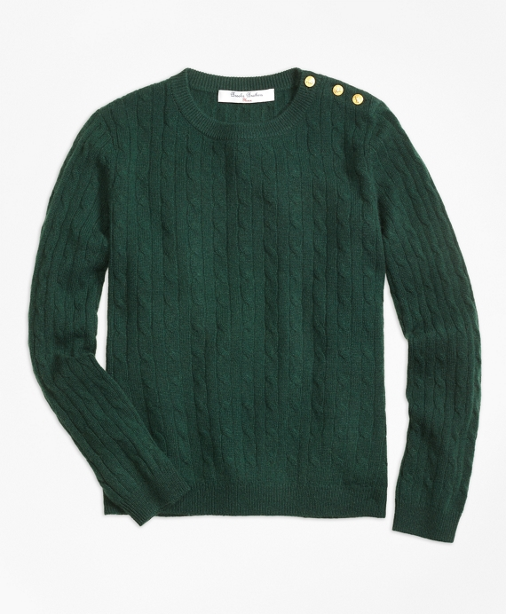 Girls Cashmere Cable Crewneck Sweater Dark Green