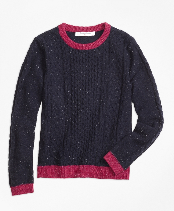 Girls Lambswool Fisherman Cable Crewneck Sweater Navy-Pink