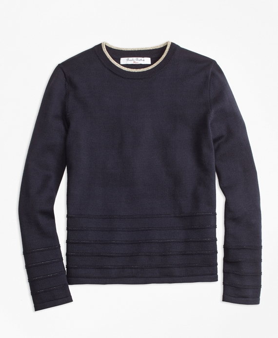 Girls Supima® Cotton Crewneck Sweater Navy