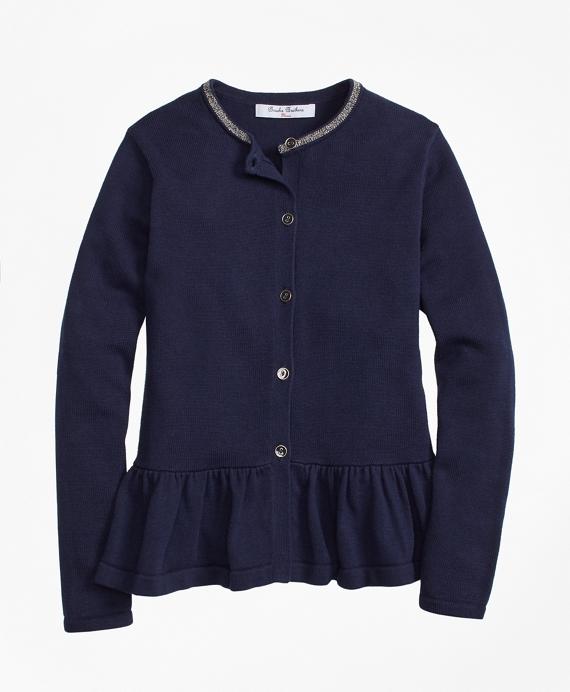 Girls Cotton Ruffle Hem Cardigan Navy