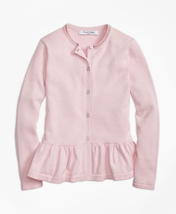 Girls Cotton Ruffle Hem Cardigan Pink