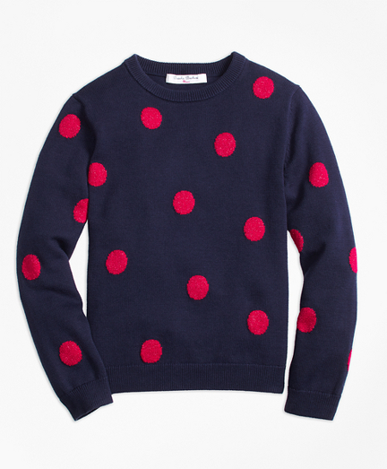 Girls Cotton Large Polka Dot Sweater