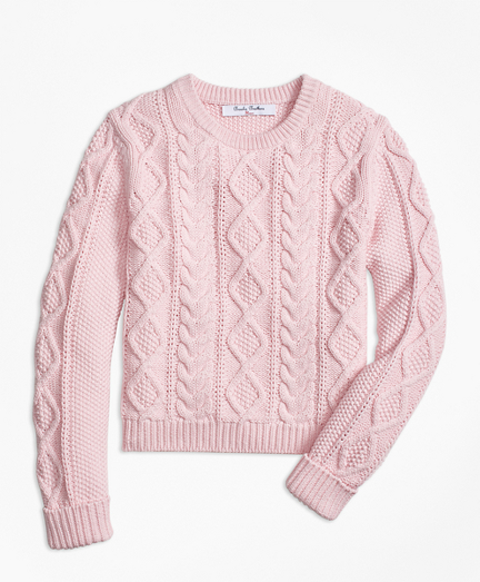 Girls Aran Cable Crewneck Sweater