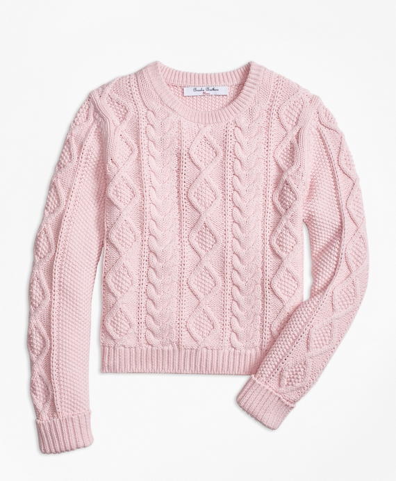 Girls Aran Cable Crewneck Sweater Pink