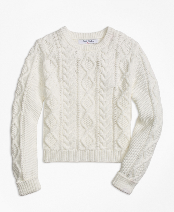 Girls Aran Cable Crewneck Sweater Ivory