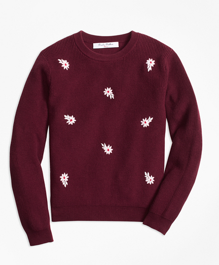 Cotton Floral Embroidered Crewneck Sweater