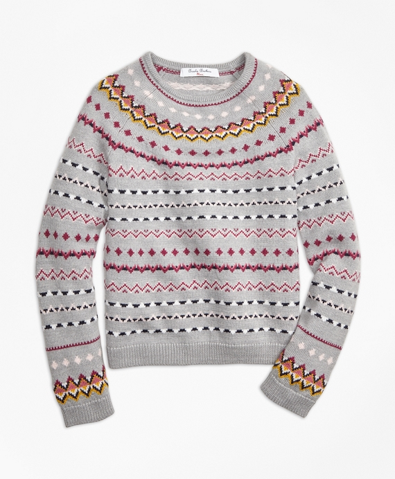 Girls Merino Wool Fair Isle Sweater Grey-Multi