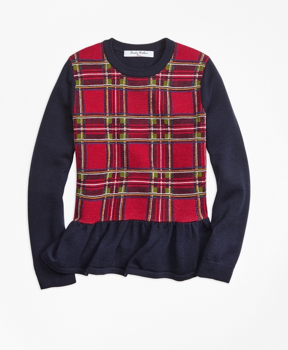 Girls Merino Wool Holiday Tartan Peplum Sweater Red-Navy