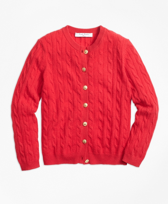 Girls Cashmere Cable Cardigan Red