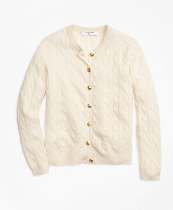 Girls Cashmere Cable Cardigan Ivory
