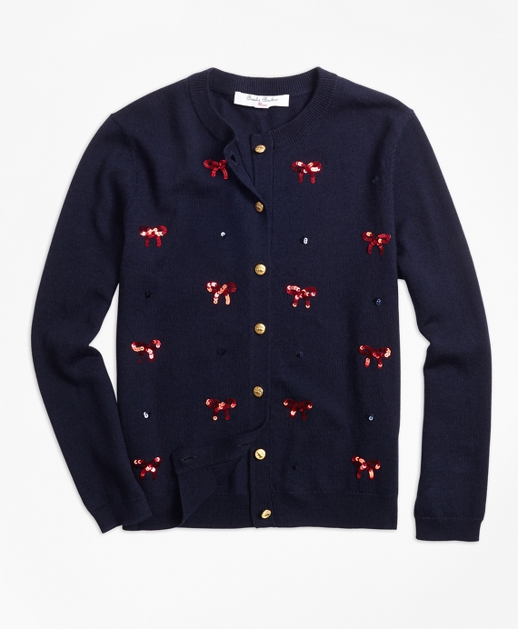 Girls Wool Sequin Bow Embroidered Cardigan Navy