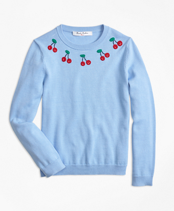 Girls Cotton Cherry Embroidered Sweater