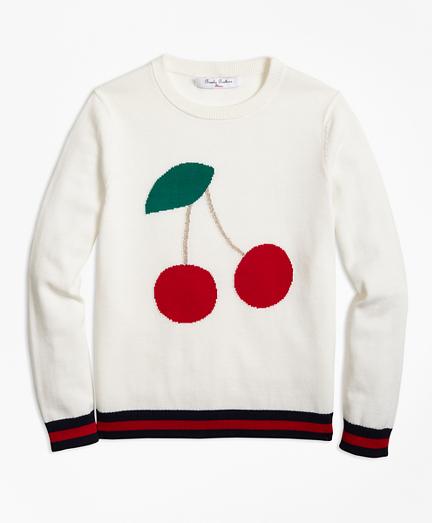 Girls Cotton Crewneck Cherry Intarsia Sweater