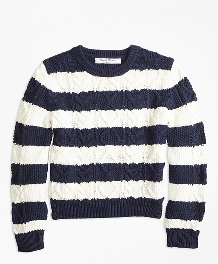 Girls Cotton Aran Stripe Sweater