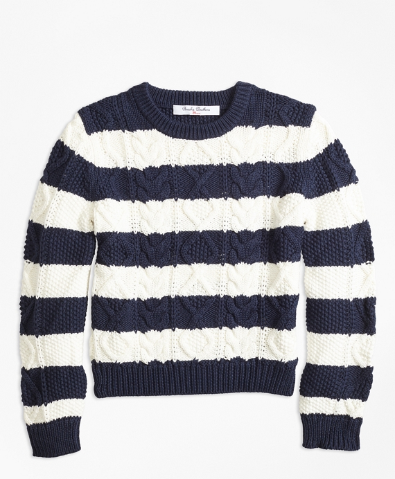 Girls Cotton Aran Stripe Sweater Navy-White