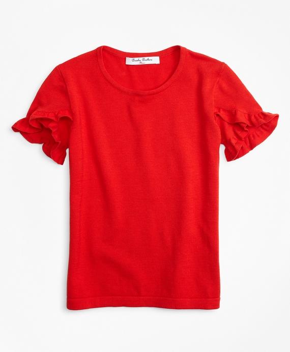 Girls Ruffle Sleeve Sweater Red