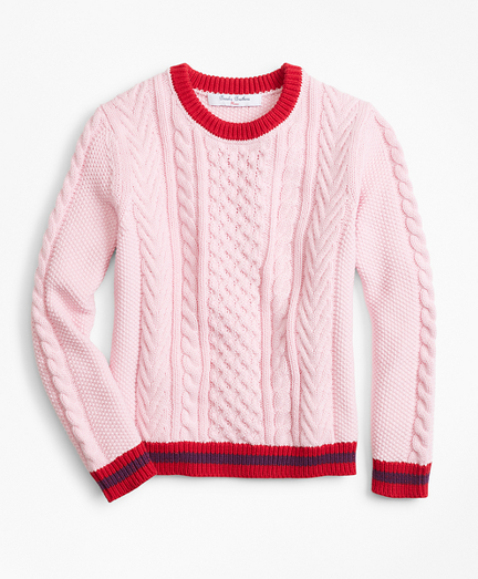 Girls Cotton Cable Tipped Sweater