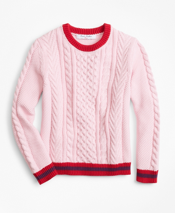 Girls Cotton Cable Tipped Sweater Light Pink