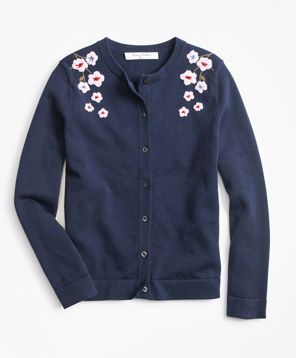 Girls Cotton Floral Cardigan