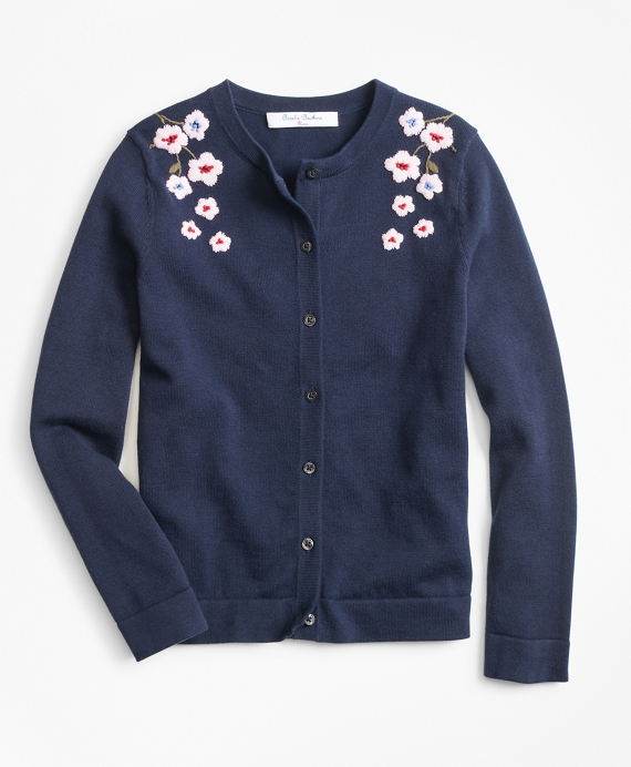 Girls Cotton Floral Cardigan Navy