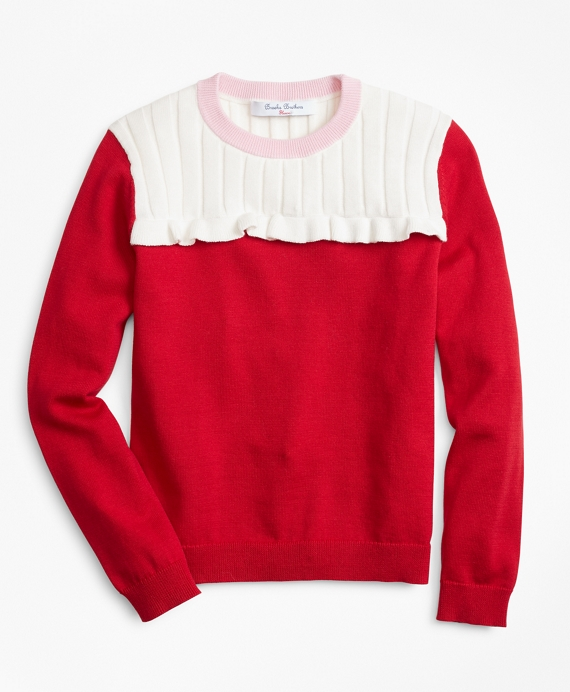 Girls Cotton Color-Block Ruffle Sweater Red