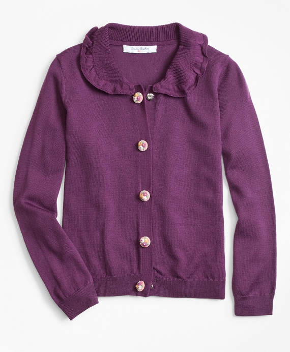 Girls Wool Ruffle Cardigan Plum