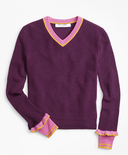 Girls Merino Wool-Blend V-Neck Sweater