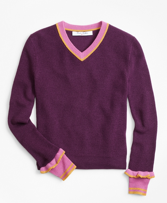 Girls Merino Wool-Blend V-Neck Sweater Plum