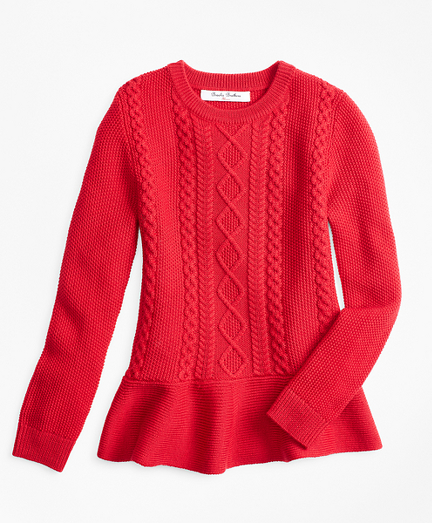 Girls Merino Wool Peplum Sweater