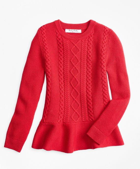 Girls Merino Wool Peplum Sweater Red