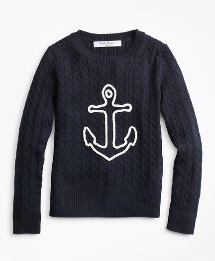 Girls Cable-Knit Cotton Anchor Sweater