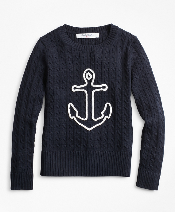 Girls Cable-Knit Cotton Anchor Sweater Navy