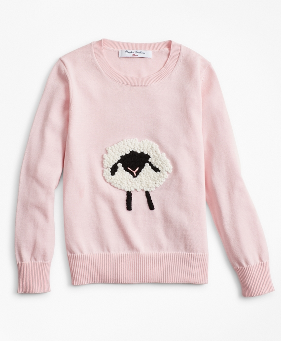 Girls Cable-Knit Cotton Sheep Sweater Pink