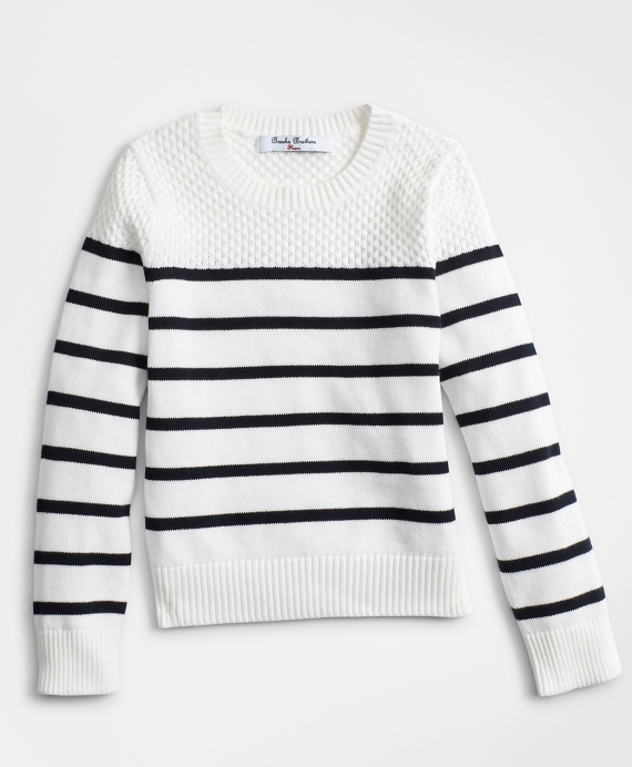 Girls Cotton Stripe Crewneck Sweater Navy-White