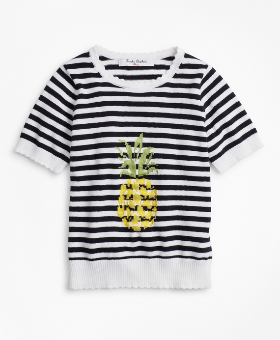 Girls Cotton Pineapple Intarsia Sweater Navy-White