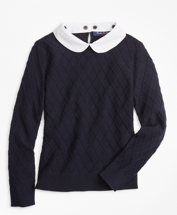 Girls Cotton Diamond Cable Sweater Navy