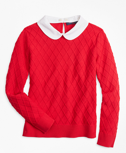 Girls Cotton Diamond Cable Sweater
