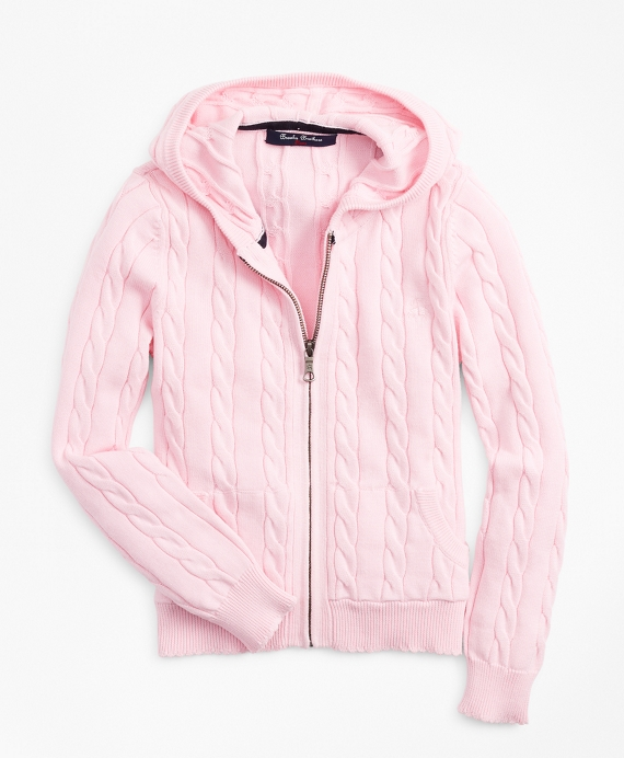 Girls Full-Zip Cotton Cable Hooded Sweater Light Pink