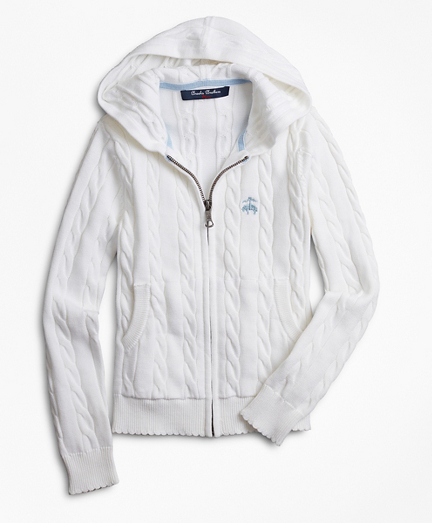 Girls Full-Zip Cotton Cable Hooded Sweater