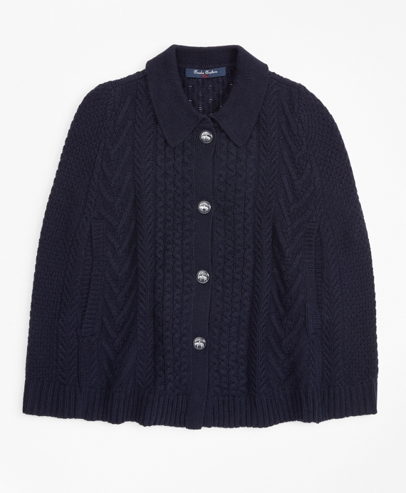 Girls Cable-Knit Poncho Navy