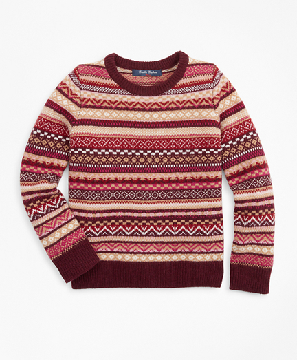 Girls Merino Wool-Blend Fair Isle Sweater