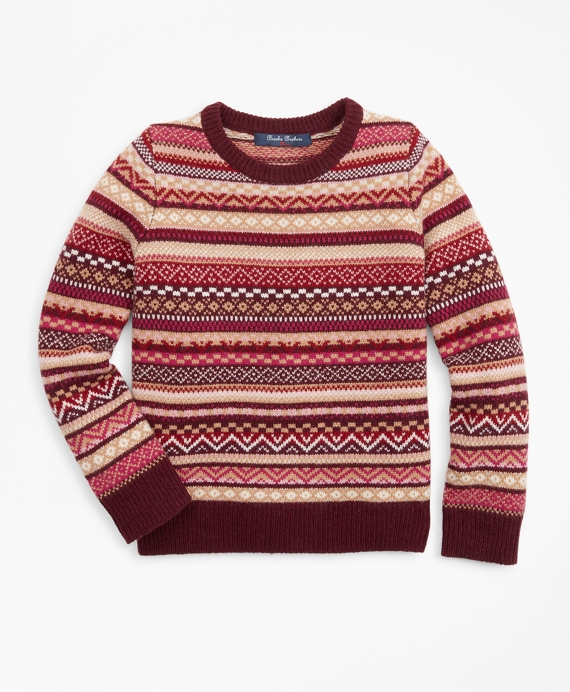 Girls Merino Wool-Blend Fair Isle Sweater Berry