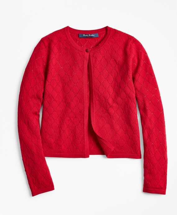 Girls Merino Wool Pointelle Cardigan Red