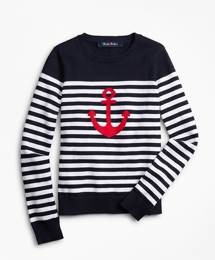 Girls Cotton Anchor Intarsia Sweater